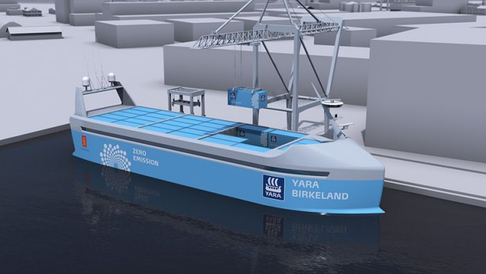 Yara y Kongsberg builds autonomous electric container ship