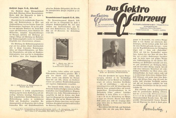 Das Elektrofahrzeug Revista Alemana de los años 30