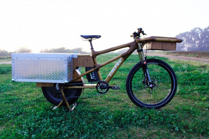 An electric bike made of bamboo