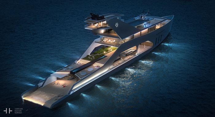 Solar mega yacht from Hareide Design