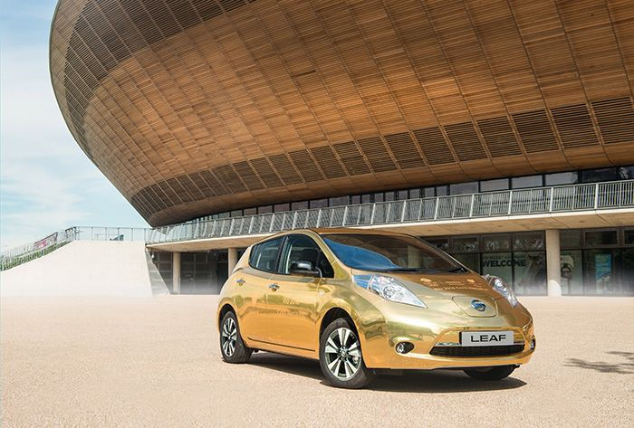 Golden Nissan Leaf for Gold Medal Winners