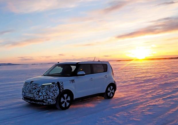 Kia Soul EV de pruebas de invierno