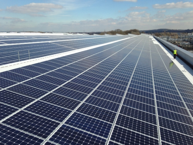 Rooftop solar panel array for Jaguar Land Rover