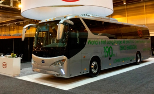 ByD Motors unveiled first battery road coach bus