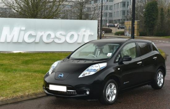 Nissan Leaf with Microsoft UK