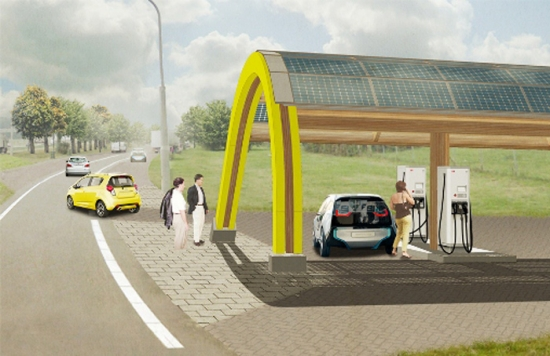 Network of fast-charging station in the Netherlands