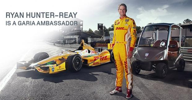 Garia Golf Car con Ryan Hunter-Reay, campeón de las carreras Indy